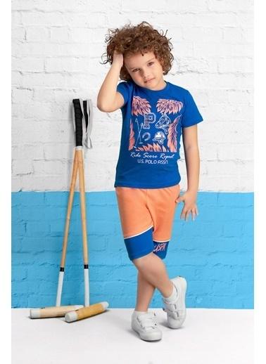 U.S. Polo Assn. U.S. Polo Assn Lisanslı Krem Erkek Çocuk Bermuda Takım Mavi